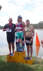 Eponymous and inspirational Waringah master and Manly LSC's Paul Bailey, Maev who is training for 20km in Lake Argyle and the man that pipped me to the 3rd place prize money